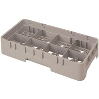 Cambro 8HS318184 Beige Camrack 8 Compartment 3 5/8 inch Half Size Glass Rack