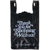 13 inch x 10 inch x 23 inch .83 Mil Black Thank You Heavy-Duty Plastic T-Shirt Bag - 400/Case