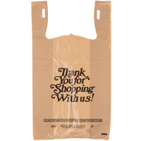 1/6 Size .71 Mil Beige Thank You Heavy-Duty Plastic T-Shirt Bag   - 600/Case