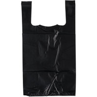 1/8 Size 1.18 Mil Black Unprinted Embossed Extra Heavy-Duty Plastic T-Shirt Bag - 200/Case