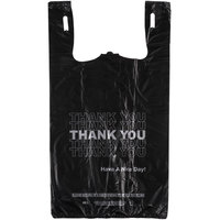 1/6 Size .51 Mil Black Thank You Plastic T-Shirt Bag - 800/Case