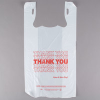 1/6 Size .59 Mil White Thank You Plastic T-Shirt Bag   - 1000/Case
