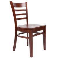 Lancaster Table & Seating Mahogany Finish Wooden Ladder Back Cafe Chair