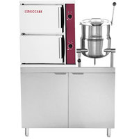 Blodgett SB-6E-6K 6 Pan Direct Steam Floor Steamer with 6 Gallon Tilting Steam Jacketed Direct Steam Kettle and 107 lb. Electric Boiler Base - 36 kW