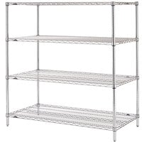 Metro N456C Super Erecta Adjustable Chrome Wire Stationary Starter Shelving Unit - 21 inch x 48 inch x 63 inch