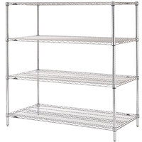 Metro N356C Super Erecta Adjustable Chrome Wire Stationary Starter Shelving Unit - 18 inch x 48 inch x 63 inch