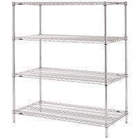 Metro N436C Super Erecta Adjustable Chrome Wire Stationary Starter Shelving Unit - 21 inch x 36 inch x 63 inch