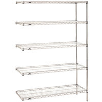 Metro 5AN527C Super Erecta Adjustable Chrome Wire Stationary Add-On Shelving Unit - 24 inch x 30 inch x 74 inch