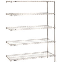 Metro 5AN547C Super Erecta Adjustable Chrome Wire Stationary Add-On Shelving Unit - 24 inch x 42 inch x 74 inch