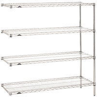 Metro AN546C Super Erecta Adjustable Chrome Wire Stationary Add-On Shelving Unit - 24 inch x 42 inch x 63 inch