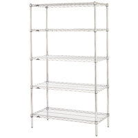 Metro 5N447C Super Erecta Adjustable Chrome Wire Stationary Starter Shelving Unit - 21 inch x 42 inch x 74 inch
