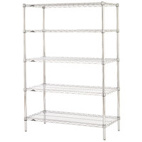 Metro 5N467C Super Erecta Adjustable Chrome Wire Stationary Starter Shelving Unit - 21 inch x 60 inch x 74 inch