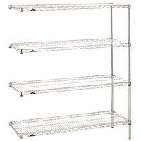 Metro AN526C Super Erecta Adjustable Chrome Wire Stationary Add-On Shelving Unit - 24 inch x 30 inch x 63 inch