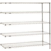 Metro 5AN577C Super Erecta Adjustable Chrome Wire Stationary Add-On Shelving Unit - 24 inch x 72 inch x 74 inch