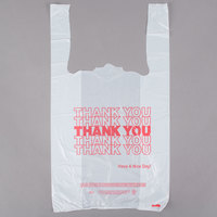 1/8 Size .51 Mil White Thank You Plastic T-Shirt Bag - 1000/Case