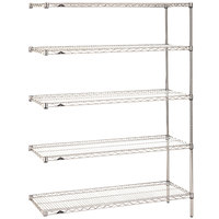 Metro 5AN437C Super Erecta Adjustable Chrome Wire Stationary Add-On Shelving Unit - 21 inch x 36 inch x 74 inch