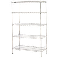 Metro 5N457C Super Erecta Adjustable Chrome Wire Stationary Starter Shelving Unit - 21 inch x 48 inch x 74 inch