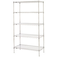 Metro 5N537C Super Erecta Adjustable Chrome Wire Stationary Starter Shelving Unit - 24 inch x 36 inch x 74 inch