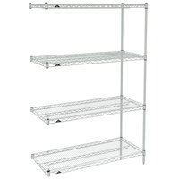 Metro AN316BR Super Erecta Brite Adjustable Wire Stationary Add-On Shelving Unit - 18 inch x 24 inch x 63 inch