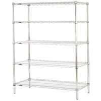 Metro 5N377C Super Erecta Adjustable Chrome Wire Stationary Starter Shelving Unit - 18 inch x 72 inch x 74 inch