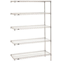 Metro 5AN317C Super Erecta Adjustable Chrome Wire Stationary Add-On Shelving Unit - 18 inch x 24 inch x 74 inch