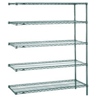 Metro 5AN557K3 Super Erecta Metroseal 3 Adjustable Wire Stationary Add-On Shelving Unit - 24 inch x 48 inch x 74 inch