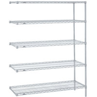Metro 5AN547BR Super Erecta Brite Adjustable Wire Stationary Add-On Shelving Unit - 24 inch x 42 inch x 74 inch