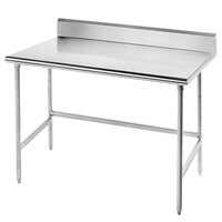 Advance Tabco TKMSLAG-365-X Open Base Stainless Steel Work Table with 5 inch Backsplash - 36 inch x 60 inch