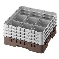 Cambro 9S638167 Brown Camrack 9 Compartment 6 7/8 inch Glass Rack