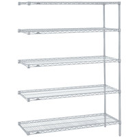 Metro 5AN537BR Super Erecta Brite Adjustable Wire Stationary Add-On Shelving Unit - 24 inch x 36 inch x 74 inch