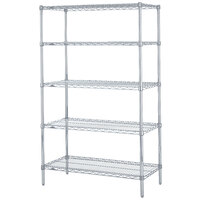 Metro 5N357BR Super Erecta Brite Adjustable Wire Stationary Starter Shelving Unit - 18 inch x 48 inch x 74 inch