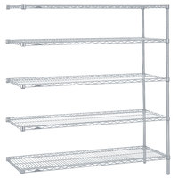 Metro 5AN467BR Super Erecta Brite Adjustable Wire Stationary Add-On Shelving Unit - 21 inch x 60 inch x 74 inch