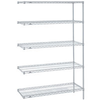 Metro 5AN417BR Super Erecta Brite Adjustable Wire Stationary Add-On Shelving Unit - 21 inch x 24 inch x 74 inch