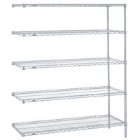 Metro 5AN457BR Super Erecta Brite Adjustable Wire Stationary Add-On Shelving Unit - 21 inch x 48 inch x 74 inch