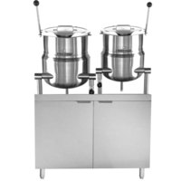 Blodgett CB42E-10-6K Double 10 Gallon and 6 Gallon Direct Steam Tilting Steam Jacketed Kettle with 42 inch Electric Boiler Base - 240V, 3 Phase, 24 kW