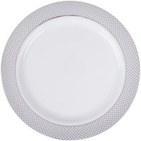 Silver Visions 10 inch White Plastic Plate with Silver Lattice Design - 120/Case