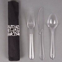 Hoffmaster 119974 Ornate CaterWrap 17 inch x 17 inch Pre-Rolled Linen-Like Black Napkin and Clear Heavy Weight Plastic Cutlery Set 100 / Case