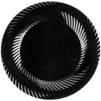 "Visions Wave 10"" Black Plastic Plate - 18/Pack"