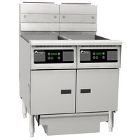 Pitco SG14RS-2FD-D 80-100 lb. 2 Unit Gas Floor Fryer System with Digital Controls and Filter Drawer - 244,000 BTU