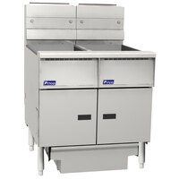 Pitco SG14RS-2FD-M Solstice 80-100 lb. 2 Unit Gas Floor Fryer System with Millivolt Controls and Filter Drawer - 244,000 BTU