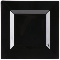 Visions Florence 8 inch Square Black Plastic Plate   - 10/Pack