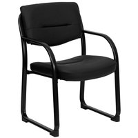 Open Back Black Leather Executive Side Chair with Sled Base