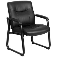 500 lb. Capacity Big & Tall Black Leather Executive Side Chair with Sled Base