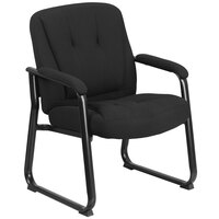 500 lb. Capacity Big & Tall Black Extra Padded Fabric Executive Side Chair with Sled Base - 24 inch x 21 1/2 inch Back