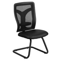 Black Mesh Side Chair with Leather Seat and Adjustable Lumbar Support