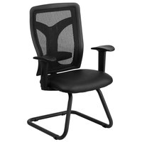 Black Mesh Side Arm Chair with Leather Seat and Adjustable Lumbar Support