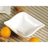 CAC SOH-77 Soho 32 oz. American White (Ivory / Eggshell) Square Stoneware Bowl - 24 / Case