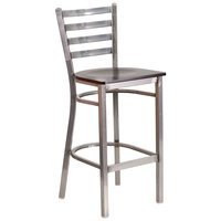 Clear-Coated Ladder Back Metal Restaurant Barstool with Walnut Wood Seat