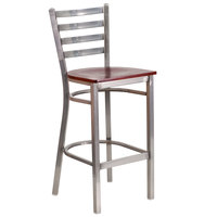Clear-Coated Ladder Back Metal Restaurant Barstool with Mahogany Wood Seat