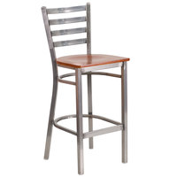 Clear-Coated Ladder Back Metal Restaurant Barstool with Cherry Wood Seat